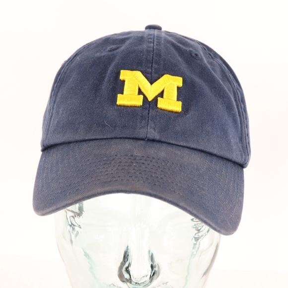 fd127f8de0378 90s Nike Michigan Wolverines Strapback Hat Blue